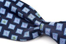 "MASSIMO BIZZOCCHI Blue Geometric Box 100% Silk Luxury Mens Kiton Tie - 3.50"""