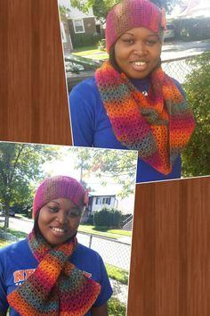 Infinity scarf and head warmer using unforgettable yarn. ..