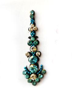 Peacock Blue Crystal STONE BINDI,Indian Bindis,India, Self Adhesive Tattoo Body Art Wedding & Bridal sticker. $3.49, via Etsy.