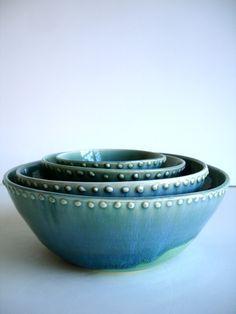 Handmade Wheel Thrown Stoneware Nested Bowls Set - Dots