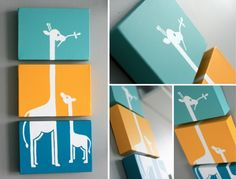 triptych giraffes silhouette... this would be super-easy to recreate