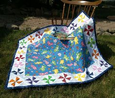 CAREBEARS & Rainbow 3D Pinwheels Baby Quilt by kre8ivLizard