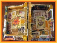 Inside of Small Gold Book  Stampcoupage (Postage Stamp Decoupage) using gold stamps on wood shaped like a small book