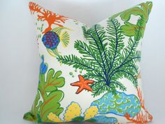 Nautical Pillow Cover Orange Turquoise Green Yellow  Any Size ..up to 20""