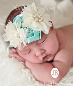 Baby headband baby headbands headbandnewborn by ThinkPinkBows