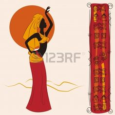 Beautiful African American woman and and ancient pattern Hand drawing illustration  Stock Vector