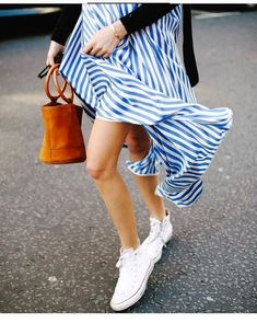 {Stripes and white sneakers.}