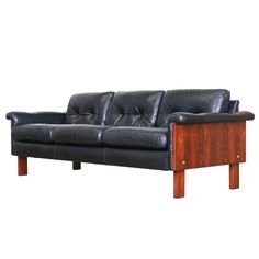 Norwegian Rosewood And Leather Sofa