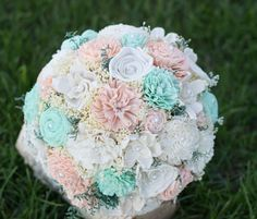 Hey, I found this really awesome Etsy listing at https://www.etsy.com/listing/202145373/wedding-bouquet-mint-peach-ivory-sola