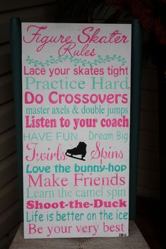 Figure Skater Rules Hand Painted Bedroom Kid by MamaSaysSigns