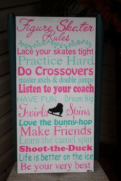 Items similar to Figure Skater Rules - Hand Painted - Bedroom Kid - Subway art - Birthday gift - little girl bedroom - Skating sign on Etsy Ice Skating Quotes, Figure Skating Quotes, Figure Skating Dresses, Skate Art, Ice Skaters, Ice Dance, Ice Princess, Roller Skating, Girls Bedroom