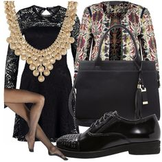 Mettete un vestito in pizzo nero (che non sapete come usare il giorno), prendete una bella collana, delle scarpe stringate con borchie, la vostra borsa preferita e quindi completate con calze e blazer colorato.