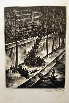 Jacques Boullaire, Untitled engraving depicting a suicide in the Seine. 220x165, numbered 124/160, c.1928. Purchased at Le Somail, 2007.