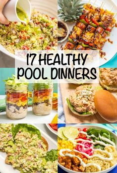 Check out these 17 ideas for healthy pool dinners (or lunches) that are easy and portable and perfect for summer evenings! Everything from pasta salads to sliders to sandwiches and wraps to snack boards plus tons of recipes to try. Pool Snacks, Beach Snacks, Easy Summer Dinners, Easy Meals, Picnic Dinner, Picnic Lunch Ideas, Healthy Summer Recipes, Healthy Picnic Foods, Beach Picnic Foods