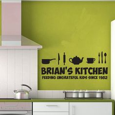 Kitchen Themed Wall Art - Personalised - Humourous Kitchen Design Silhoutte