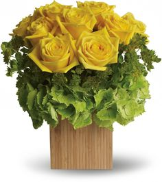 Teleflora's Box of Sunshine yellow and green flowers