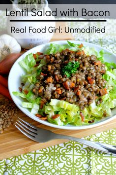 Lentil-Salad-with-Bacon| Real Food Girl: Unmodified