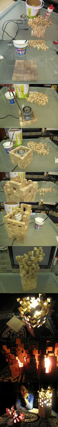 需要的材料:木方块、胶水、成品灯头、还有您的创意思维 制作:其实也没啥好说的,创作者就是将一块块的小木块按照自己的理解和创意一块块的粘贴起来。有的规则有的另类。然后创作出最后的唯美效果。