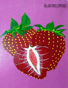 'Strawberry pastel' by Marlene Ruth Juan Strawberry Kitchen, My Etsy Shop, Pastel, Room Decor, Hand Painted, Wall Art, Unique Jewelry, Handmade Gifts, Collections