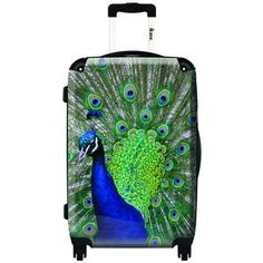 M  iKase Peacock 20-inch Hardside Carry On Spinner Upright Suitcase