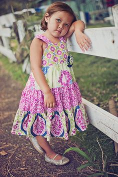 The Ashley Dress PDF sewing pattern available at Fairytale Frocks & Lollipops.  Sizes 6m- Girls 12.  Beautiful 3-tier sundress.
