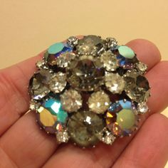 Vintage Signed WEISS Gray AB & Clear Rhinestone Round CLUSTER BROOCH Pin Silvert #Weiss