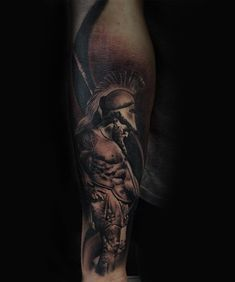 Roman gladiator tattoo by Lorand. Limited availability at Redemption Tattoo Studio.