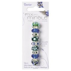 MIX AND MINGLE GLASS METAL BEADS, BLUE/GREEN