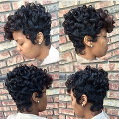 Women Short Black Brown FrontCurly Hairstyle Synthetic Hair Wigs For Black Women Levert Dropship - March 09 2019 at 27 Piece Hairstyles, Blond Hairstyles, My Hairstyle, Weave Hairstyles, Hairstyles 2016, Teenage Hairstyles, Black Hairstyle, Hairstyles Pictures, American Hairstyles
