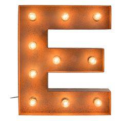 """Lampe décorative avec ampoules """"E"""" orange en bois   E14, 25W   10 x 48 x 60 cm"""