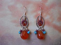Boho garnet, carnelian and turquoise earrings.