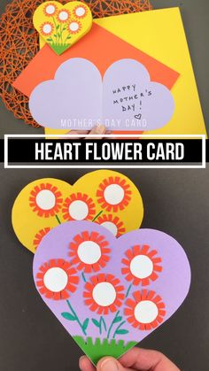 Mother's Day heart flower card for kids to make for mom and mum. Easy paper Mother's Day craft for preschoolers and older kids. Mother's Day heart flower card for kids to make for mom and mum. Easy paper Mother's Day craft for preschoolers and older kids. Diy Gifts For Mom, Mothers Day Crafts For Kids, Diy Mothers Day Gifts, Fathers Day Crafts, Happy Mothers Day, Grandparent Gifts, Homemade Gifts, Toddler Crafts, Preschool Crafts