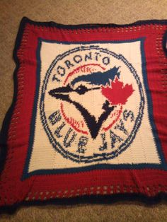 Toronto Blue Jays blanket that I made. I've also made an Edmonton Oilers one! This can be done with almost any logo or picture.