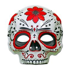 Rubber Mask - Day Of The Dead Masquerade Mask - Red Flower White Day, Red And White, Day Of The Dead Mask, Red Flowers, Masquerade, Masks, Skull, Art, Art Background