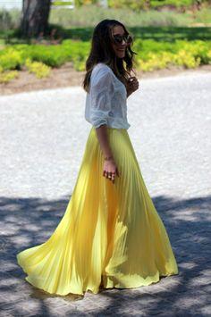 yellow flowing skirt reaching ground sky blue jacket