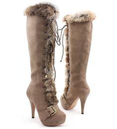 [SHEOSONE.BIZ] 2104  Rabbit Fur Trimming Lace-up Beige Boots (12cm) [BLACK LABEL]