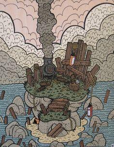 """View from the Point, Briar Island"" x Acrylic on Board , Nick Brunt Fine Art Photo, Photo Art, Vintage World Maps, Folk, Urban, Island, Board, Artist, Block Island"
