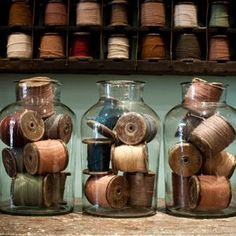 antique spools and bobbins | French bobbins with original cottons | quintessential duckeggBLUE