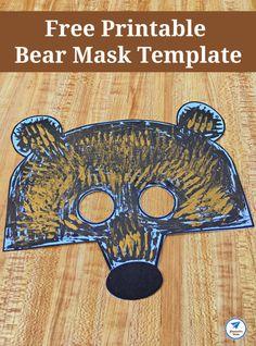Free Printable Bear Mask Template - JDaniel4s Mom #bearmask #masktemplate #jdaniel4smom Bear Crafts, Craft Stick Crafts, Paper Crafts, Easy Crafts For Kids, Toddler Crafts, Kid Crafts, Fall Crafts, Paper Plate Masks, Wooden Craft Sticks