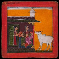 Style: Pahari; Type: Deities and ragas; Title: 'A lady and a bull, depicting the musical mode Bhairavi Ragini', Basohli, c. 1680