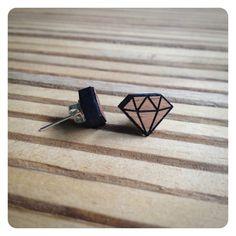 Wooden jewellery  earrings  diamond  geometric stud by kookinuts, $15.00