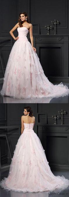 Strapless pink wedding dress with train