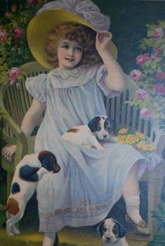 Girls with puppies - Vintage