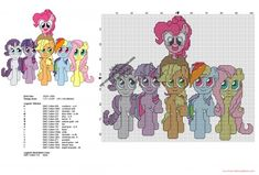 All My Little Pony together free cross stitch pattern