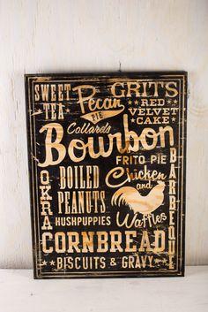 Southern Foods Wood Sign on BourbonandBoots.com