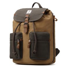 ea7d4f2c Troop London Heritage Canvas Leather Backpack, Canvas Leather Smart Casual  Daypack, Tablet Friendly Backpack ║ x x cm