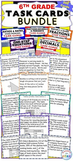 These 6th Grade Math Common Core TASK CARDS are perfect for reinforcing concepts. This bundle includes 5 sets of 6th Grade Common Core task cards (200 cards/40 cards per set), student answer sheets, and answer keys.   Perfect for assessments, test prep, homework practice, and math centers. ✔ Decimals  ✔ Multiply and Divide Fractions  ✔ Fractions, Decimals, Percents  ✔ One-Step Equations  ✔ Ratios and Rates Middle School Math Common Core 6NS, 6EE, 6RP, 6G, 6SP
