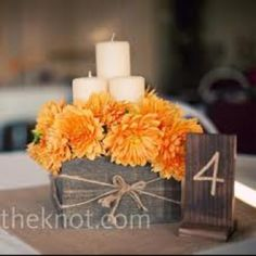 like this but with cream colored flowers and navy blue candles!