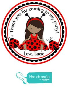 Ladybug Darker Tone Skin Theme Party Birthday Favors Custom Personalized- Favor Birthday Stickers - Treat Toppers 24 Stickers Popular Size 2.5 Inches. Labels Favors from Custom Party Favors, Handmade Craft , and Educational Products http://www.amazon.com/dp/B01GBDXQUU/ref=hnd_sw_r_pi_dp_Xhotxb0E3PTXB #handmadeatamazon