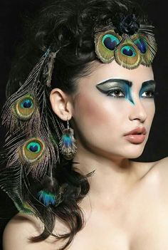 Peacock makeup + jewelry.